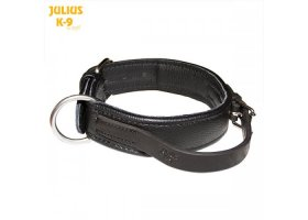 Padded leather collar with closeable handle, 40mm/1.57 in