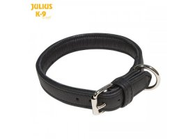 Padded leather collar without handle, 25mm/0.98 in